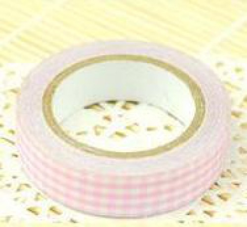 Rolle Fabric Tape Check rosa weiss kariert