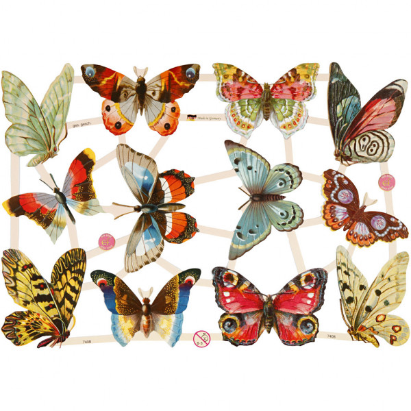 "Glanzbilder ""Schmetterlinge"" Bogen Oblaten"