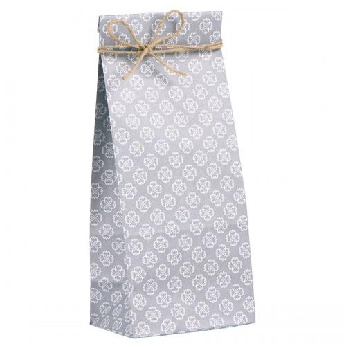 5 Stk. hohe Papierbeutel grau Blumen
