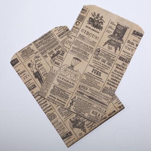 10 Papiertüten vintage Newspaper gross