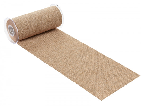 Dekostoff Leinen Jute 20cm breit Tischband hellbraun