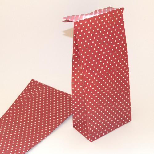 5 Stk. Papierbeutel rot mit weissen Punkten