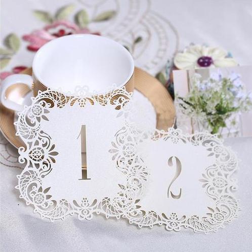 Tischnummern Nr. 1 - 10 Papier Spitze Tischdeko