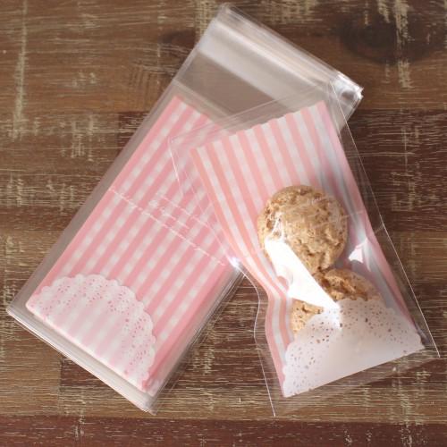 10 Cellophantüten LACE Stripes rosa für Kekse Gebäck