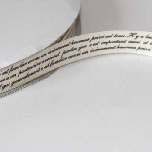 Schleifenband alte französische Schrift 16mm creme