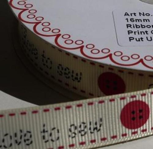 """Love to sew"" Ripsband pro Meter"