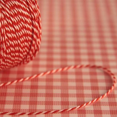 dünnes Baumwollgarn rot / weiß 2fädig