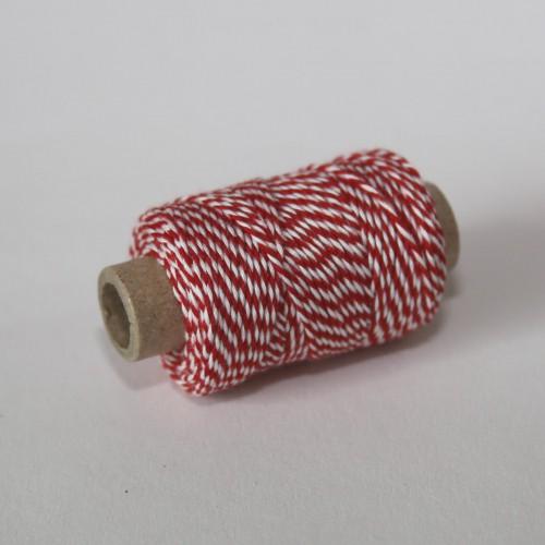 kleine Rolle dünnes Baumwollgarn rot weiss 35 Meter