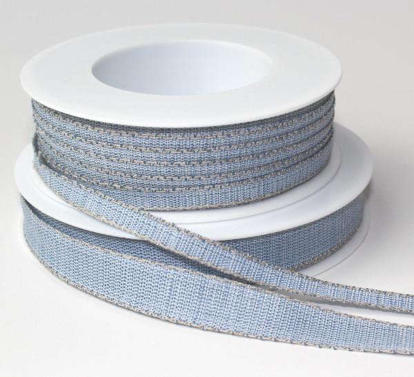 Schleifenband hellblau mit Leinenkante natur 15mm