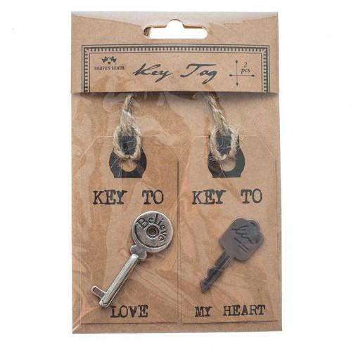 2 Paketanhänger Kraft mit Schlüssel KEY TO MY HEART