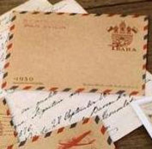 10 Stk kleine Kraftpapier Briefumschläge Luftpost Prag