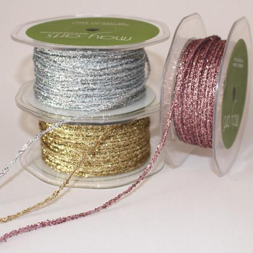 Glitzerbändchen Metallic-Kordel silber