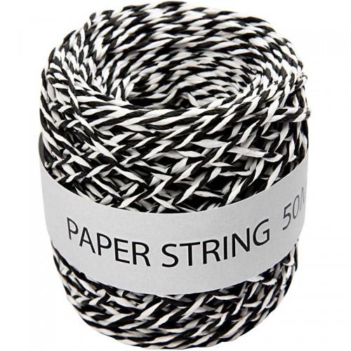 Rolle Papierkordel schwarz weiss 50 Meter