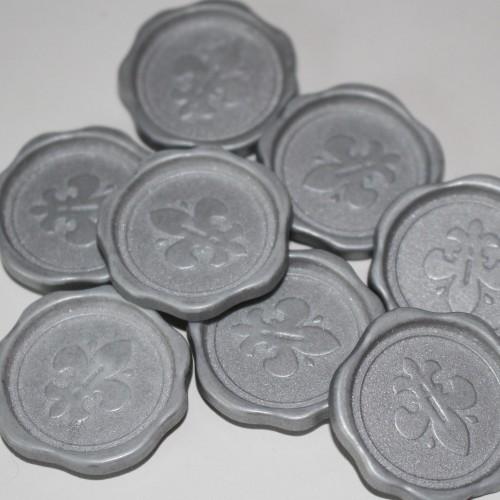 4 Stk. silberne Lacksiegel Lilie selbstklebend