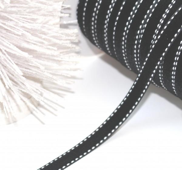 5ba1a25b396cb6 Schleifenband Samt schwarz weiß stitch 10mm
