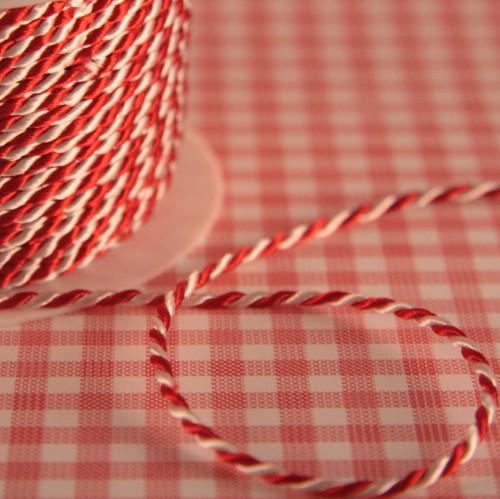 Satinkordel rot / weiß