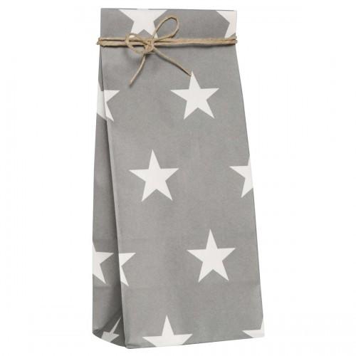 5 Stk. hohe Papierbeutel grau mit weissen Sternen
