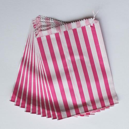 Papiertüten pink weiß gestreift, klein 10 Stk
