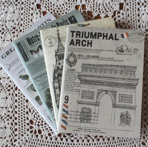 Notizheft vintage blanko Triumphbogen Paris