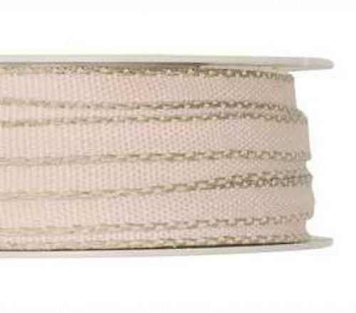 Schleifenband zart rosa mit Leinenkante 7mm