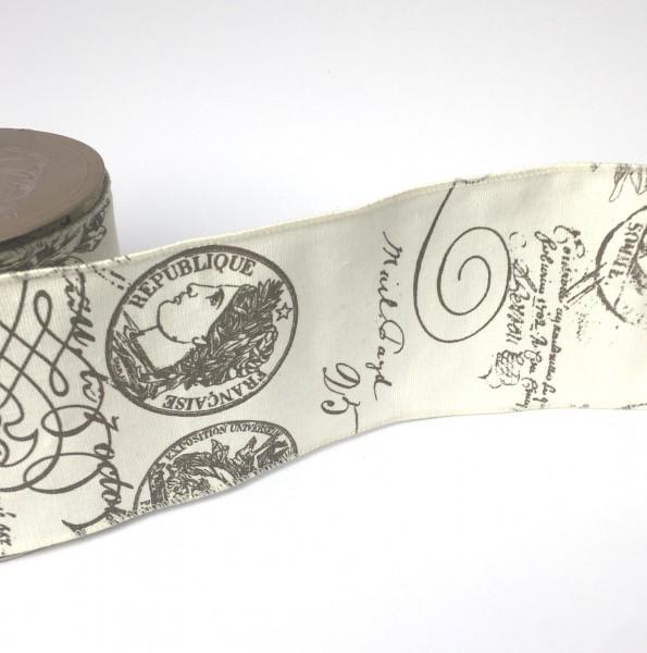 Dekoband vintage SCRIPT Französisch 10cm