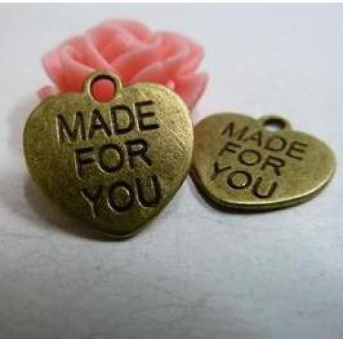 10 kl. Anhänger Herz MADE FOR YOU bronze