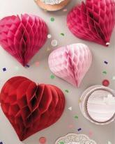 3er Set Wabenpapier Herzen rosa rot
