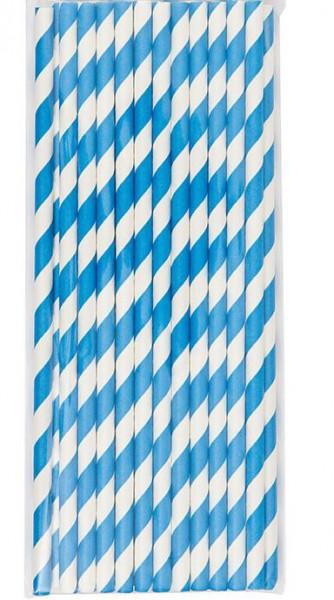24 Strohhalme Papier blau weiss gestreift
