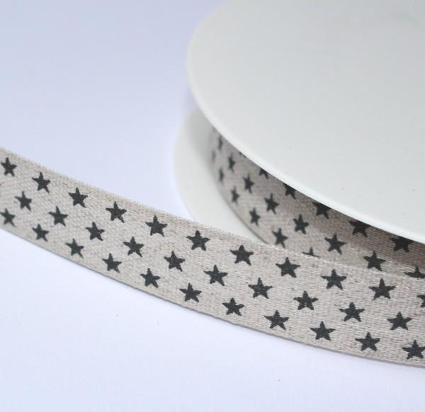 Baumwollband Webband natur Sternchen schwarz 15mm