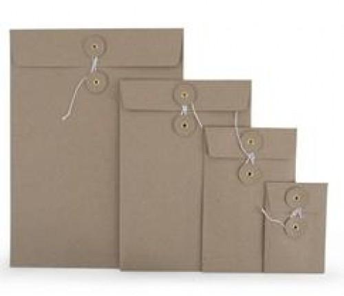 Button String Briefumschlag Kraftpapier rec. grau C5