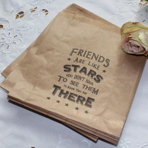 40 Kraftpapiertüten vintage FRIENDS ARE LIKE STARS