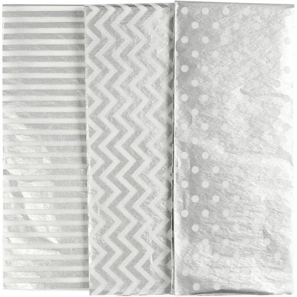 6 Bögen Seidenpapier silber gemustert