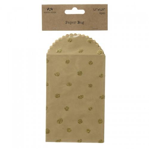 6 Mini Umschläge Kraft goldene Dots