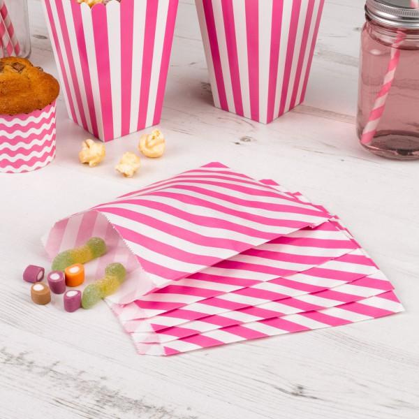 25 Papiertüten pink weiss gestreift Candy