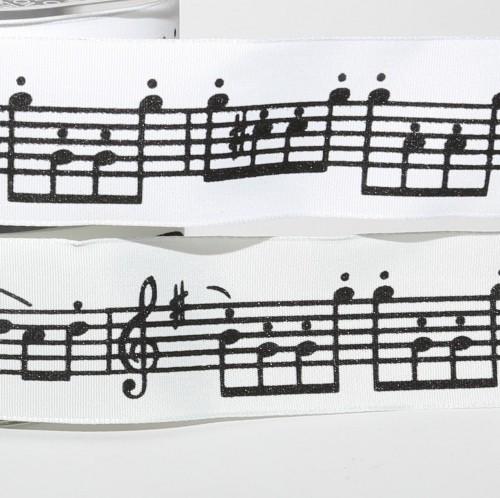 Schleifenband weiss mit Musiknoten B 38mm