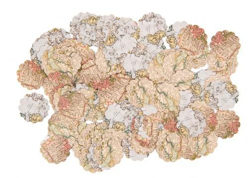 Tisch- Konfetti Worldmap Landkarte Kreis Scallop