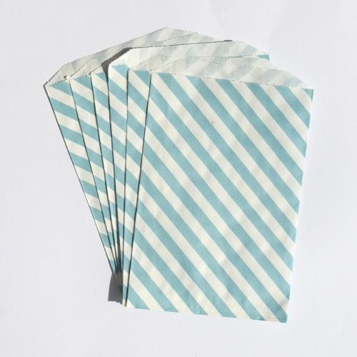 Papiertüten weiß mit hellblauen Streifen
