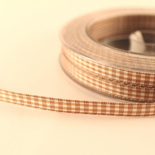Schleifenband Vichykaro hellbraun / weiss kariert 6mm