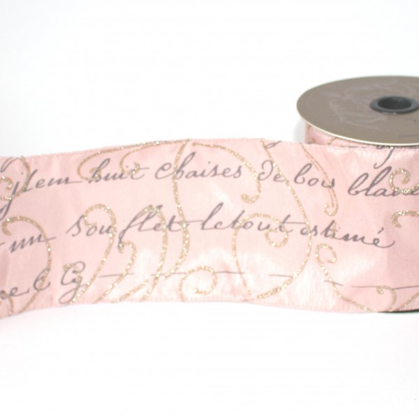 Dekoband rosa vintage SCRIPT 10cm gold glitzer