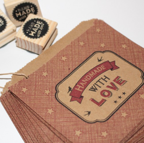 40 kleine Kraftpapiertüten HANDMADE WITH LOVE