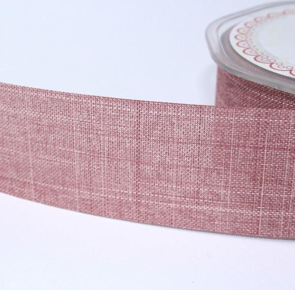 breites Dekoband Leinenoptik Jute 2,5cm altrosa