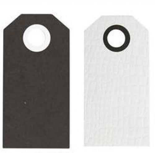 20 Paketanhänger schwarz/weiss 6x2cm