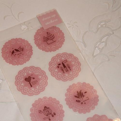 10 Sticker Doilies rosa