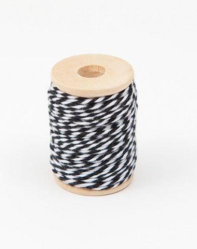 Garnrolle Baumwollgarn schwarz / weiß 15 Meter