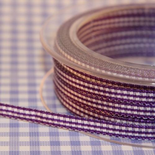 Schleifenband Vichykaro lila / weiss kariert 6mm