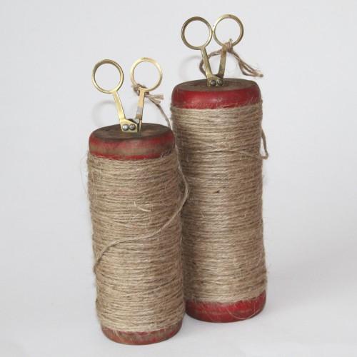 alte Garnspule Jutegarn mit Schere, groß