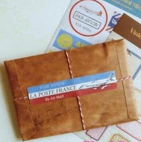 5 Umschläge Kuverts vintage Antik-Look 16x11cm