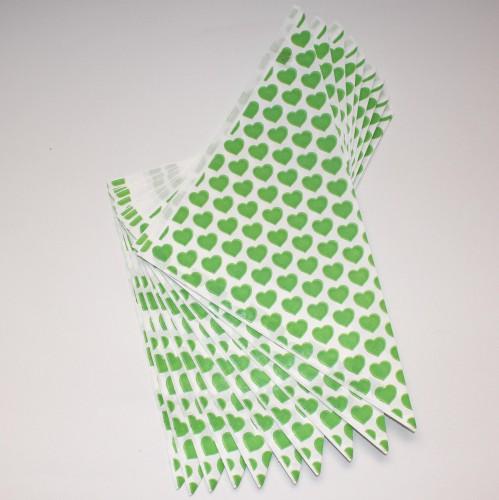 10 Spitztüten grünen Herzen Gr. L