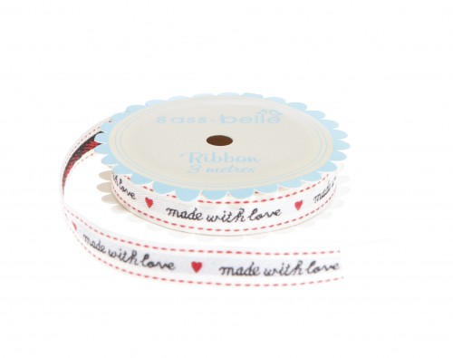 "Stickband gewebt ""made with love"" Rolle 3 Meter"