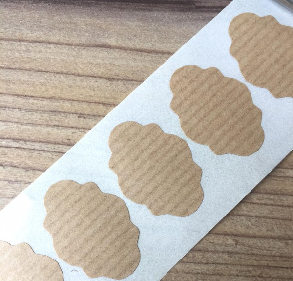 20 mini Sticker Label Kraft gerippt 30x20mm